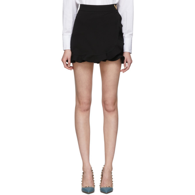 Photo: Valentino Black Jersey Ruffle Shorts
