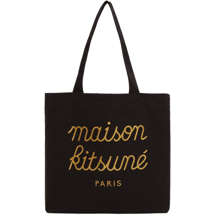 Photo: Maison Kitsuné SSENSE Exclusive Black Logo Tote