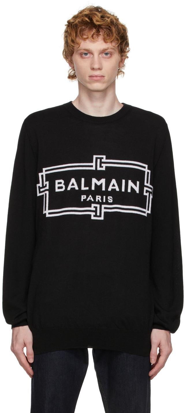 Photo: Balmain Black Wool Logo Sweater