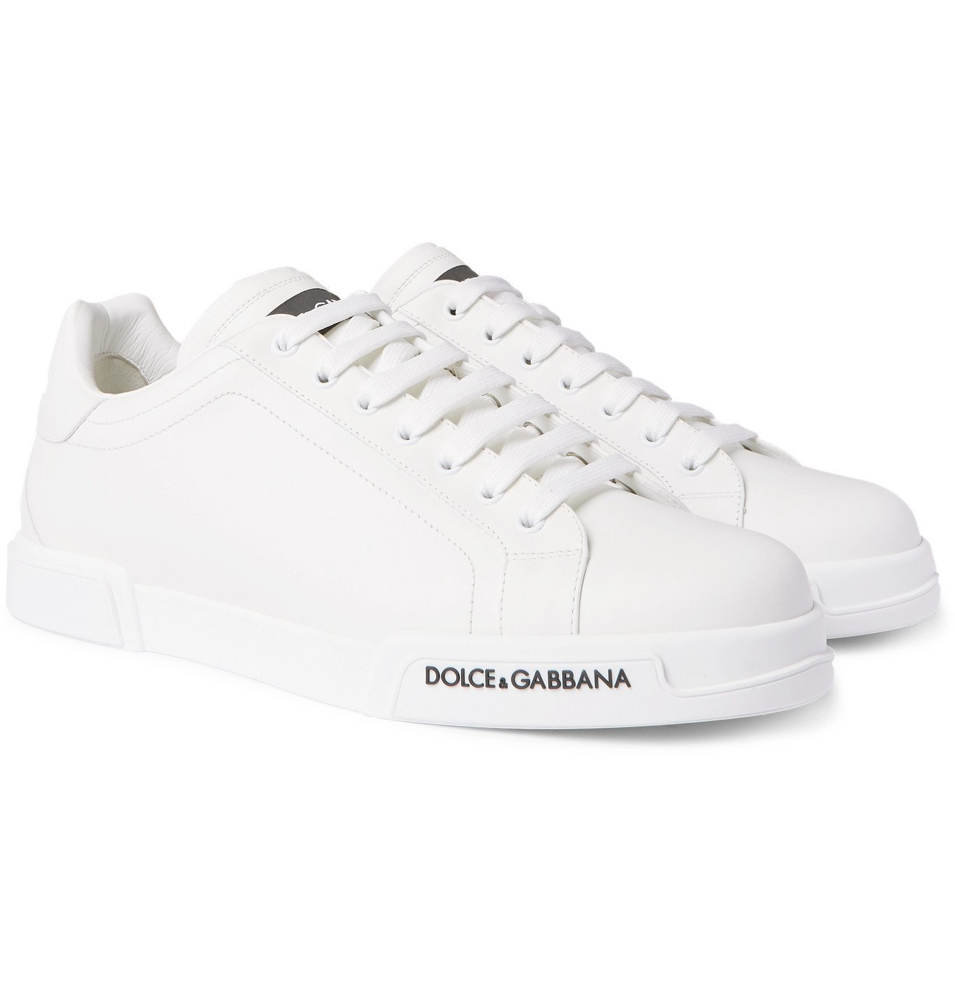 Photo: Dolce & Gabbana - Logo-Appliquéd Rubber-Trimmed Leather Sneakers - White