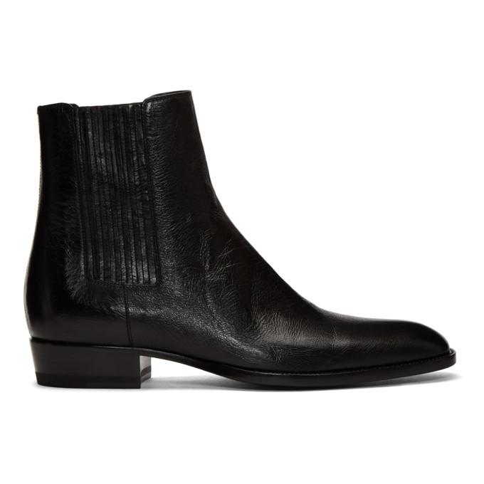 Photo: Saint Laurent Black Wyatt Chelsea Boots