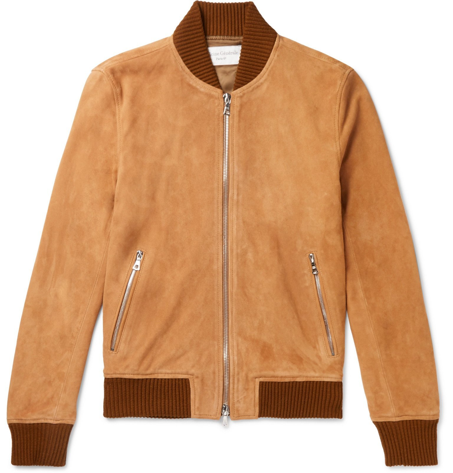 Photo: Officine Generale - Todd Slim-Fit Suede Bomber Jacket - Brown