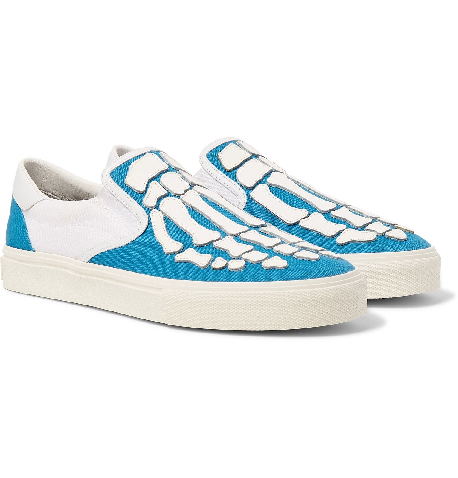 Photo: AMIRI - Skel Toe Leather-Appliquéd Canvas Slip-On Sneakers - Blue