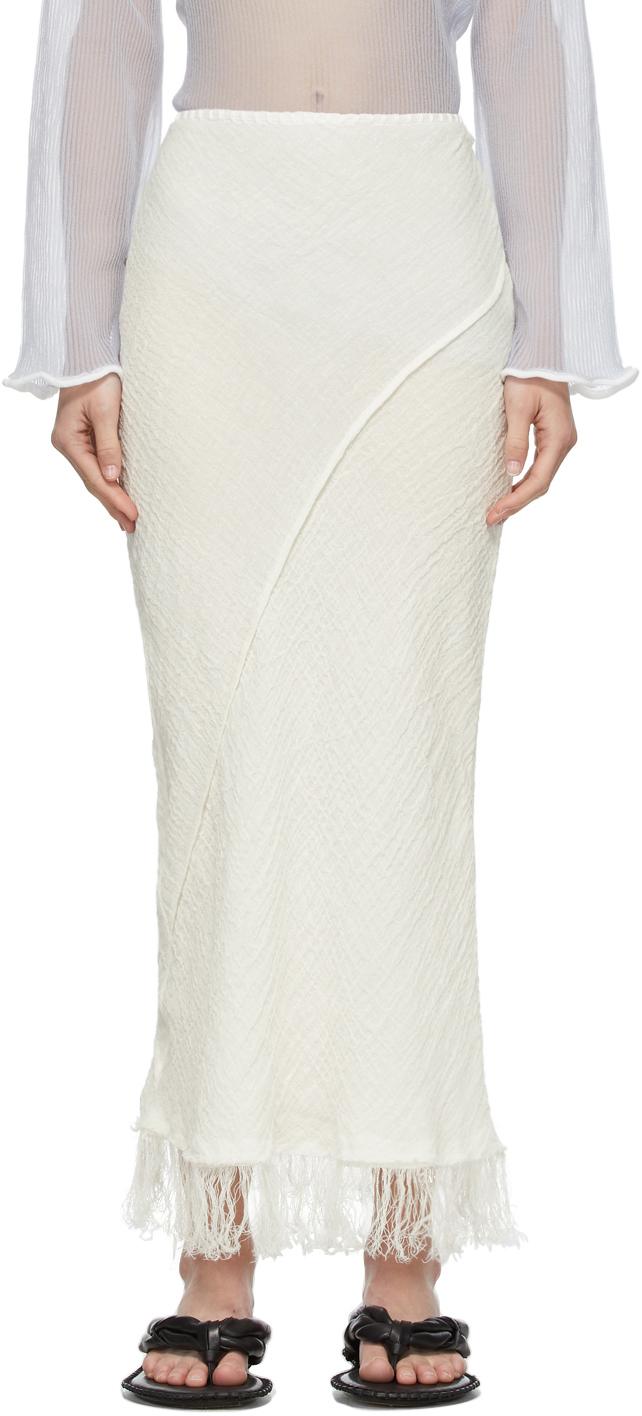 Photo: Acne Studios White Linen Fringed Skirt