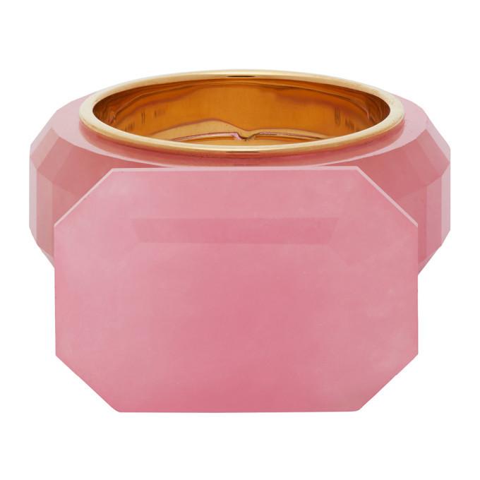 Photo: Bottega Veneta Pink and Gold Jade Ring