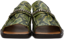 Martine Rose Green Snake Open Toe Loafers