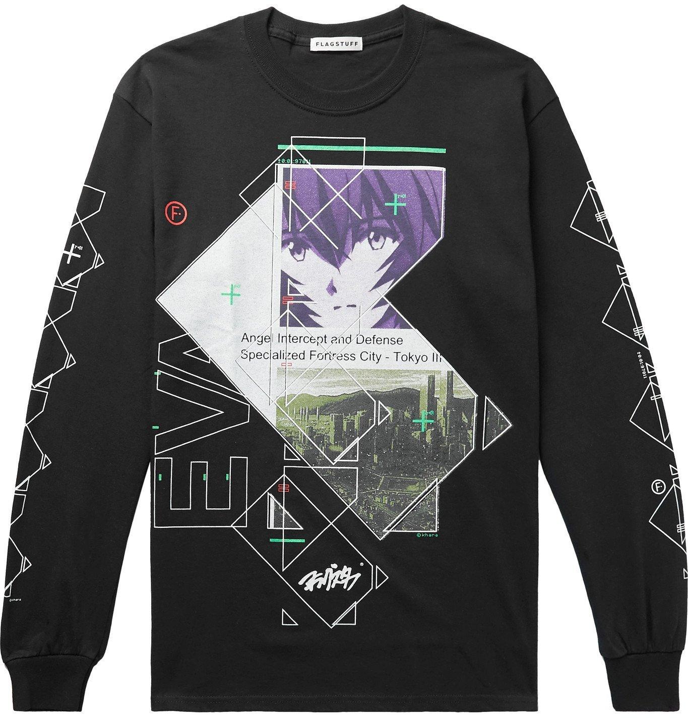 Photo: Flagstuff - Evangelion Printed Cotton-Jersey T-Shirt - Multi