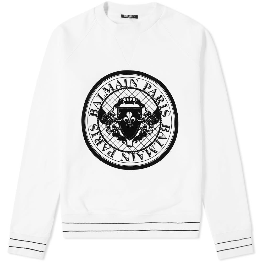 Photo: Balmain Circle Logo Flocked Sweat White