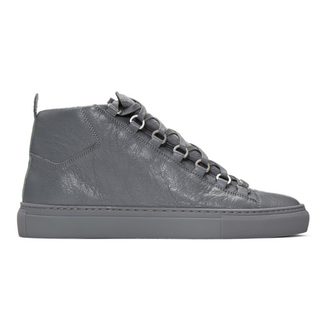 Photo: Balenciaga Grey Arena High-Top Sneakers