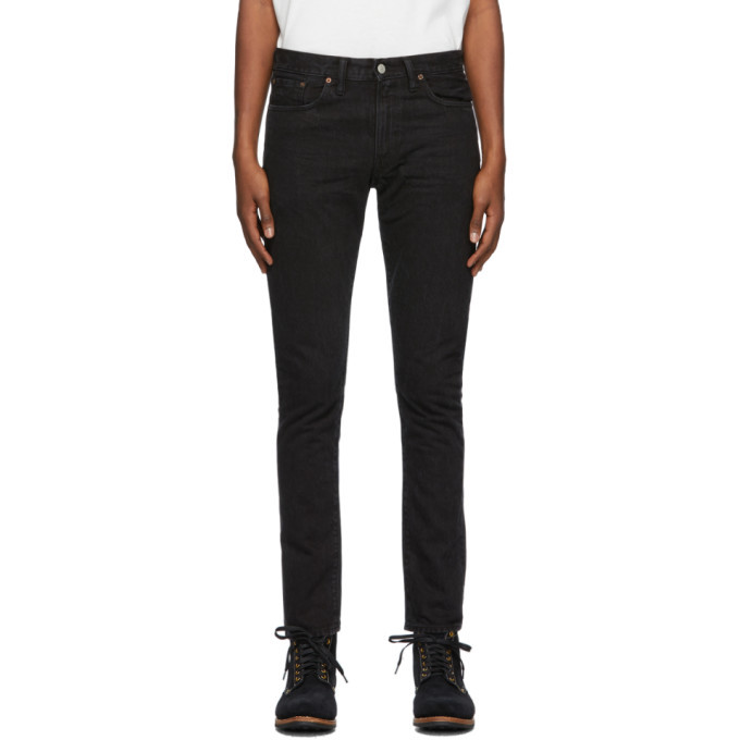 RRL Black Selvedge Slim Jeans