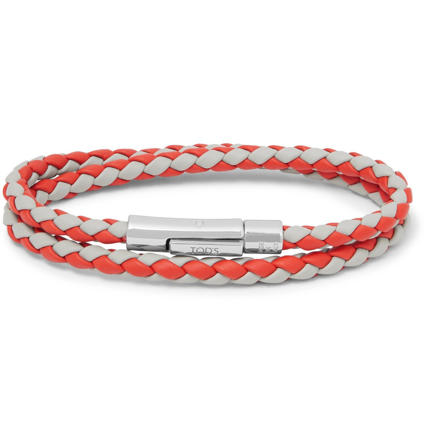 Photo: Tod's - Woven Leather and Silver-Tone Wrap Bracelet - Red