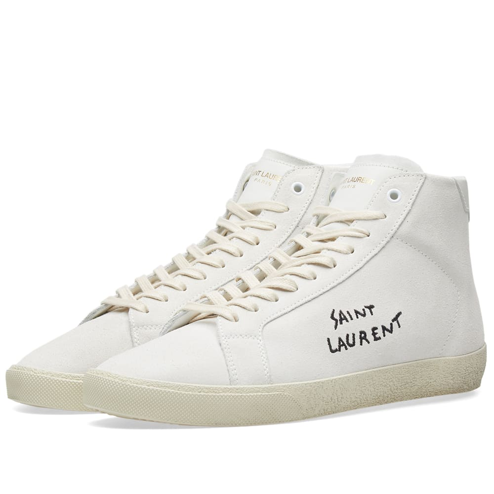 Photo: Saint Laurent SL-06 Mid Signature Nubuck Sneaker