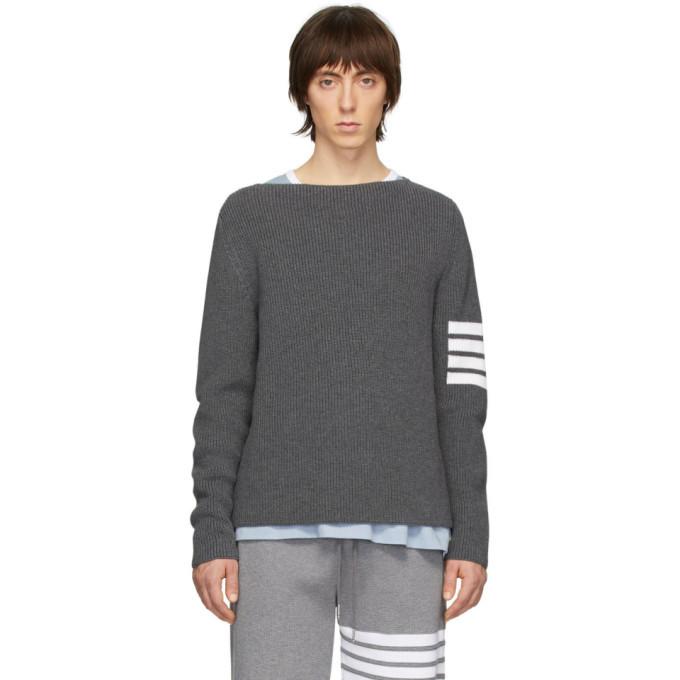 Photo: Thom Browne Grey 4-Bar Stitch Sweater