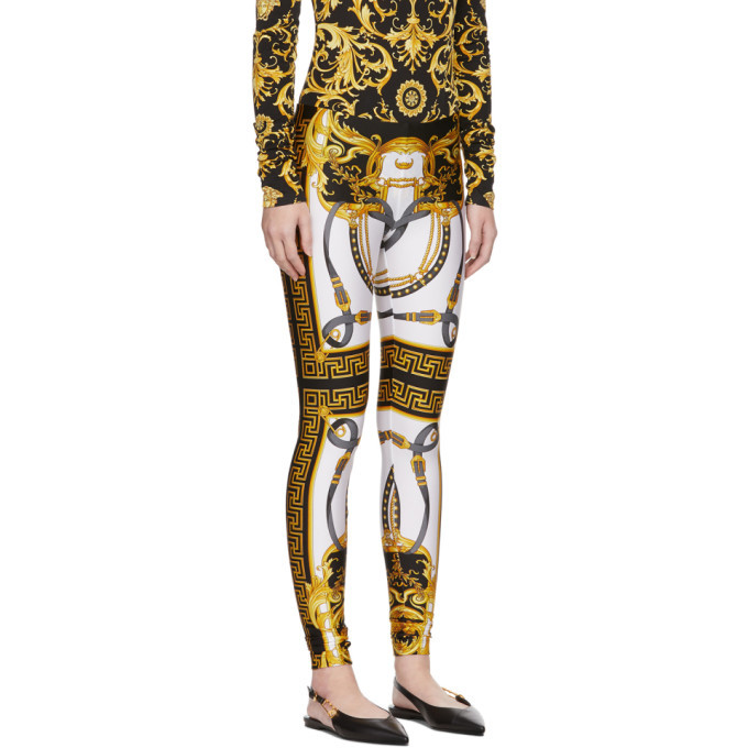 Versace White and Black Rodeo Barocco Leggings
