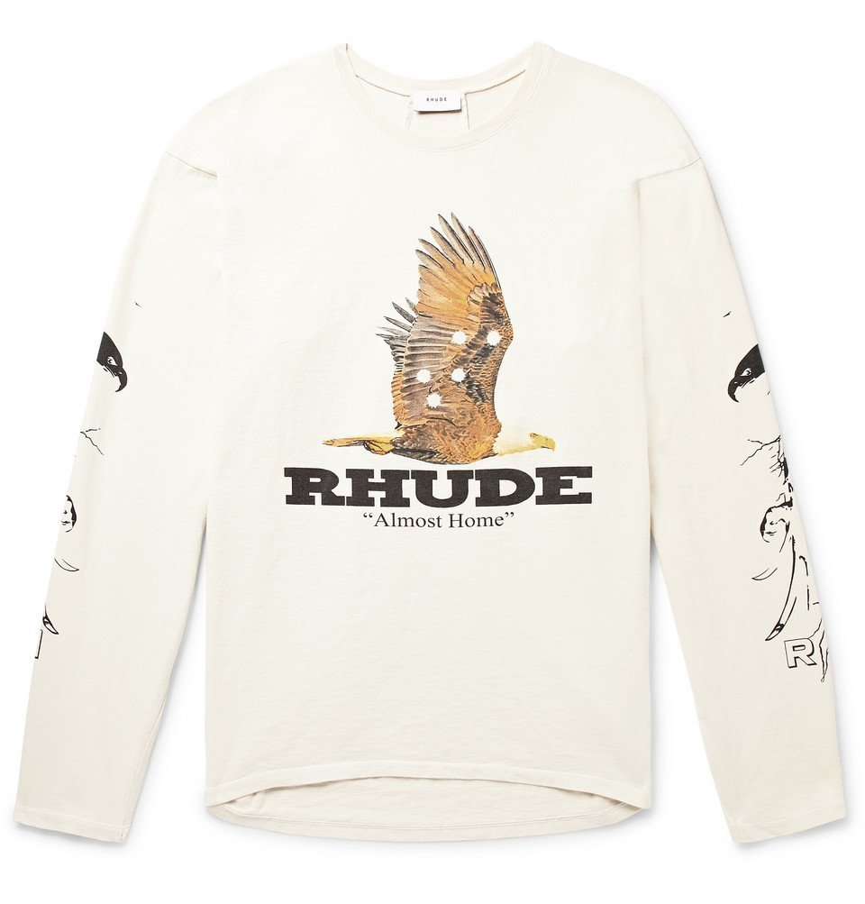 Photo: Rhude - Printed Cotton-Jersey T-Shirt - Off-white