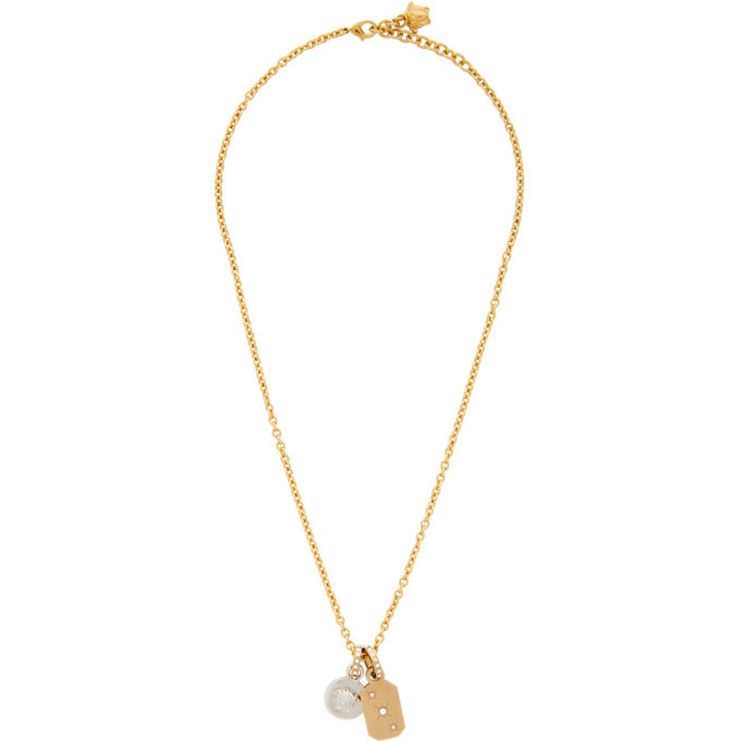 Photo: Versace Gold and Silver Charm Crystal Pendant Necklace