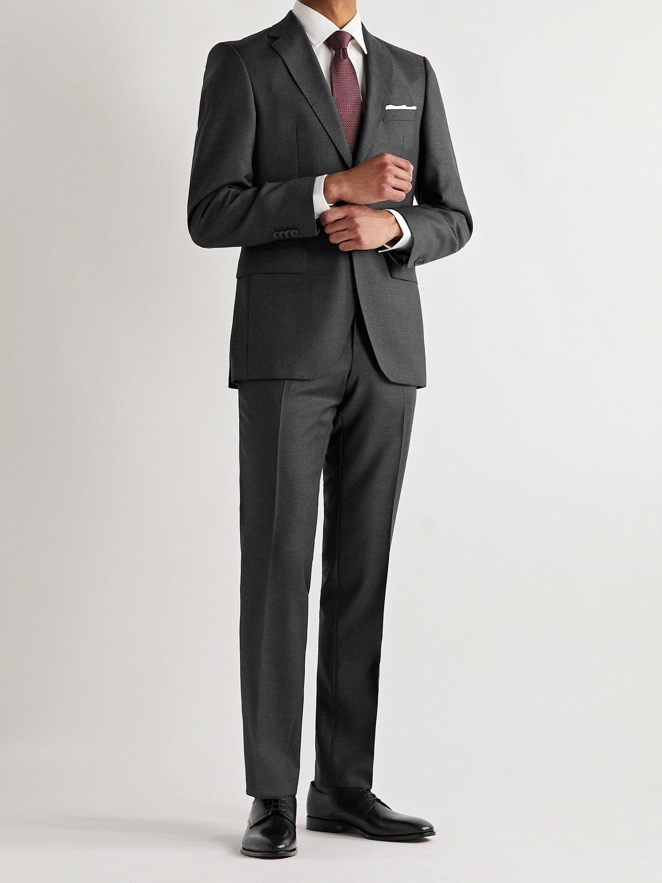 HUGO BOSS - Lenon2 Slim-Fit Pleated Virgin Wool Suit Trousers - Gray