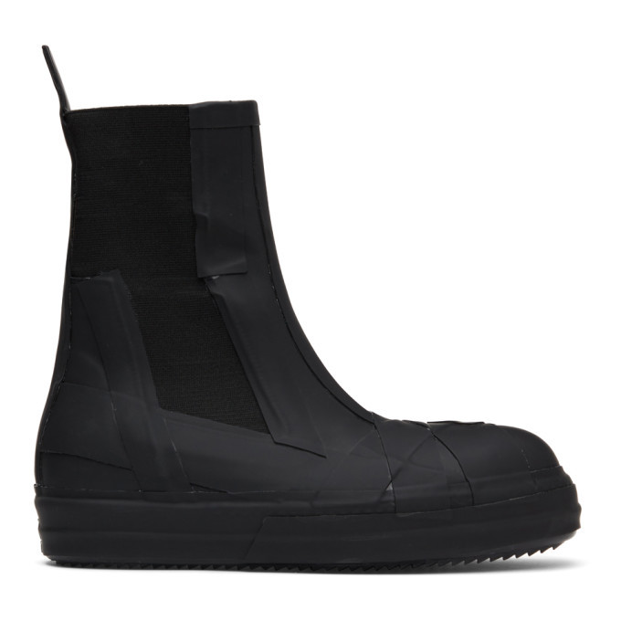 Photo: Rick Owens Black Rubber Bozo Chelsea Boots