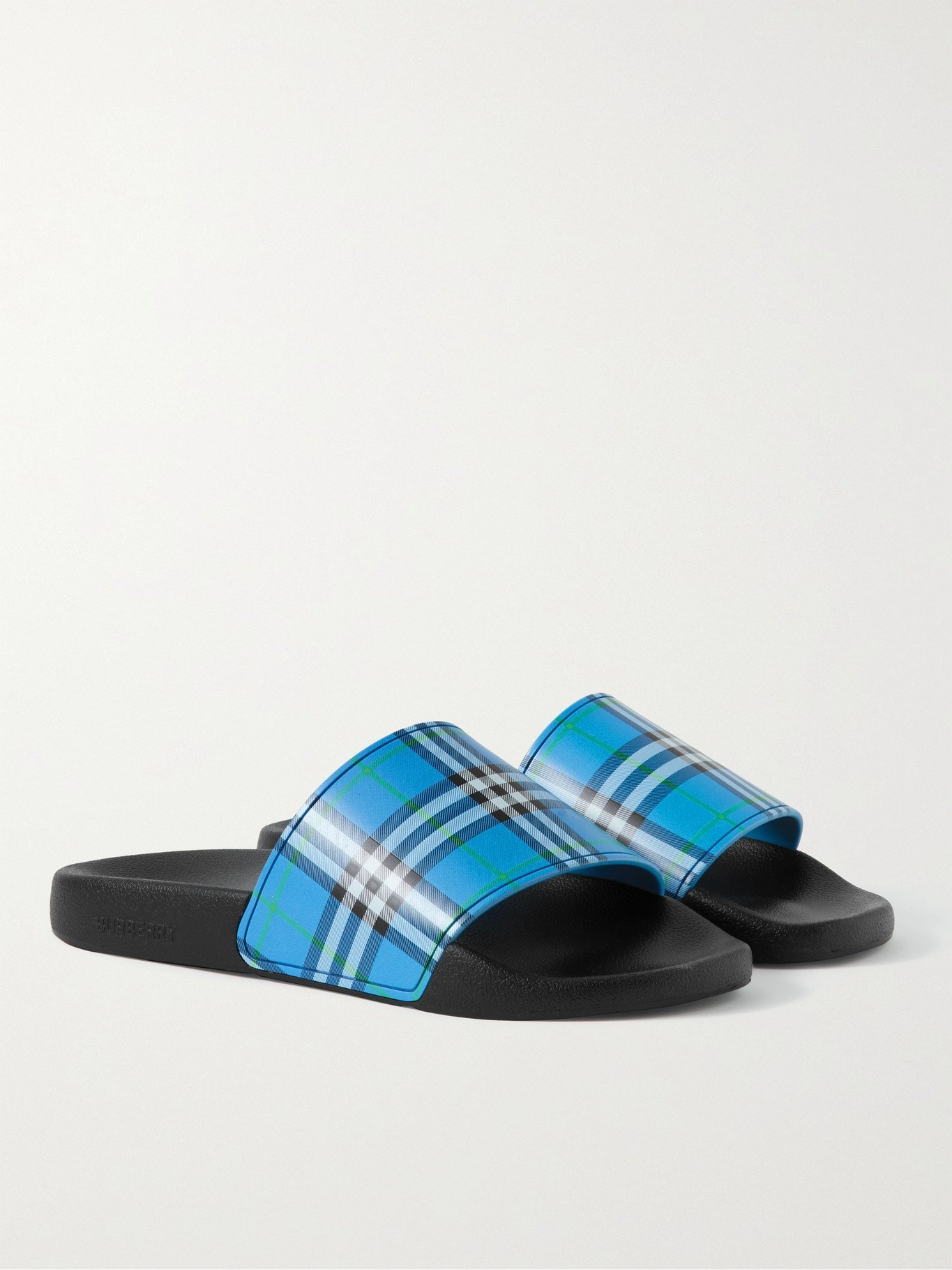 Photo: BURBERRY - Checked Rubber Slides - Blue