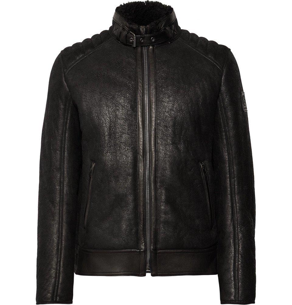 Photo: Belstaff - Westlake 2.0 Slim-Fit Leather-Trimmed Shearling Biker Jacket - Black