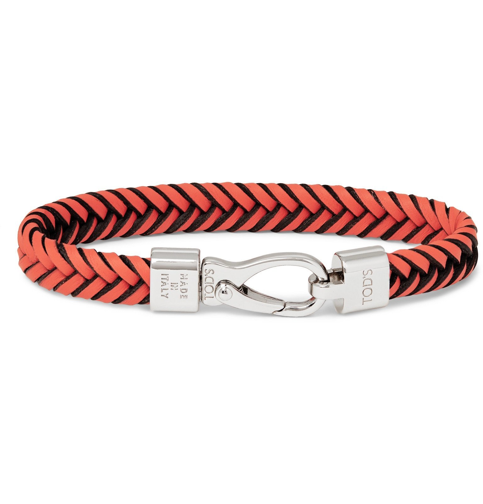 Photo: Tod's - Woven Leather and Silver-Tone Bracelet - Orange