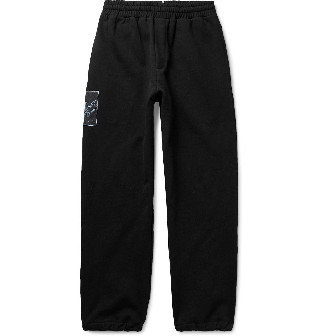 Photo: MCQ - Appliquéd Loopback Cotton-Jersey Sweatpants - Black