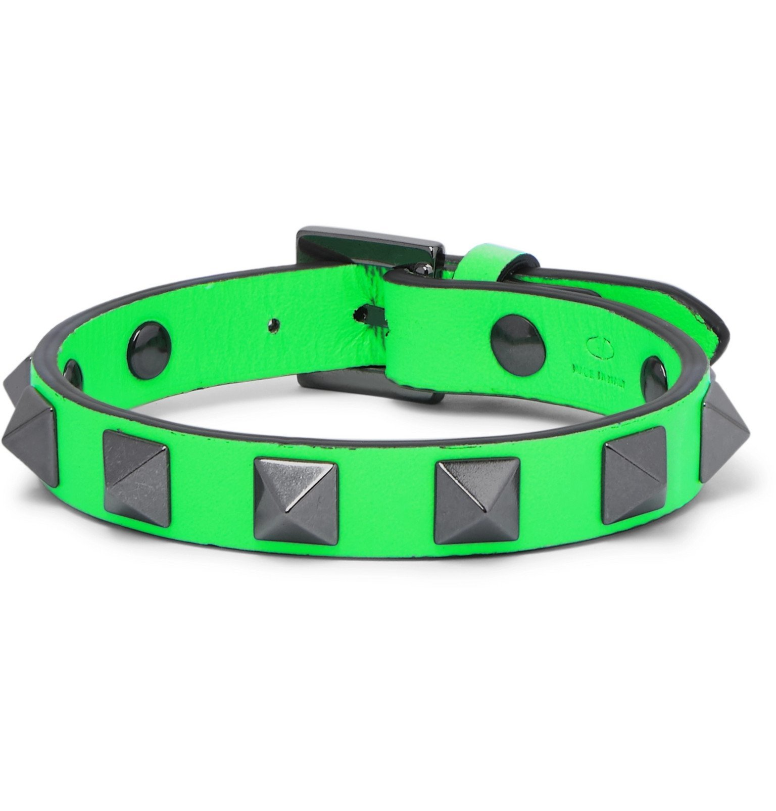 Photo: Valentino - Valentino Garavani Rockstud Leather and Ruthenium Bracelet - Green