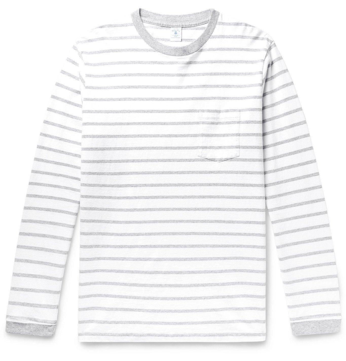 Photo: Velva Sheen - Striped Cotton-Jersey T-Shirt - White