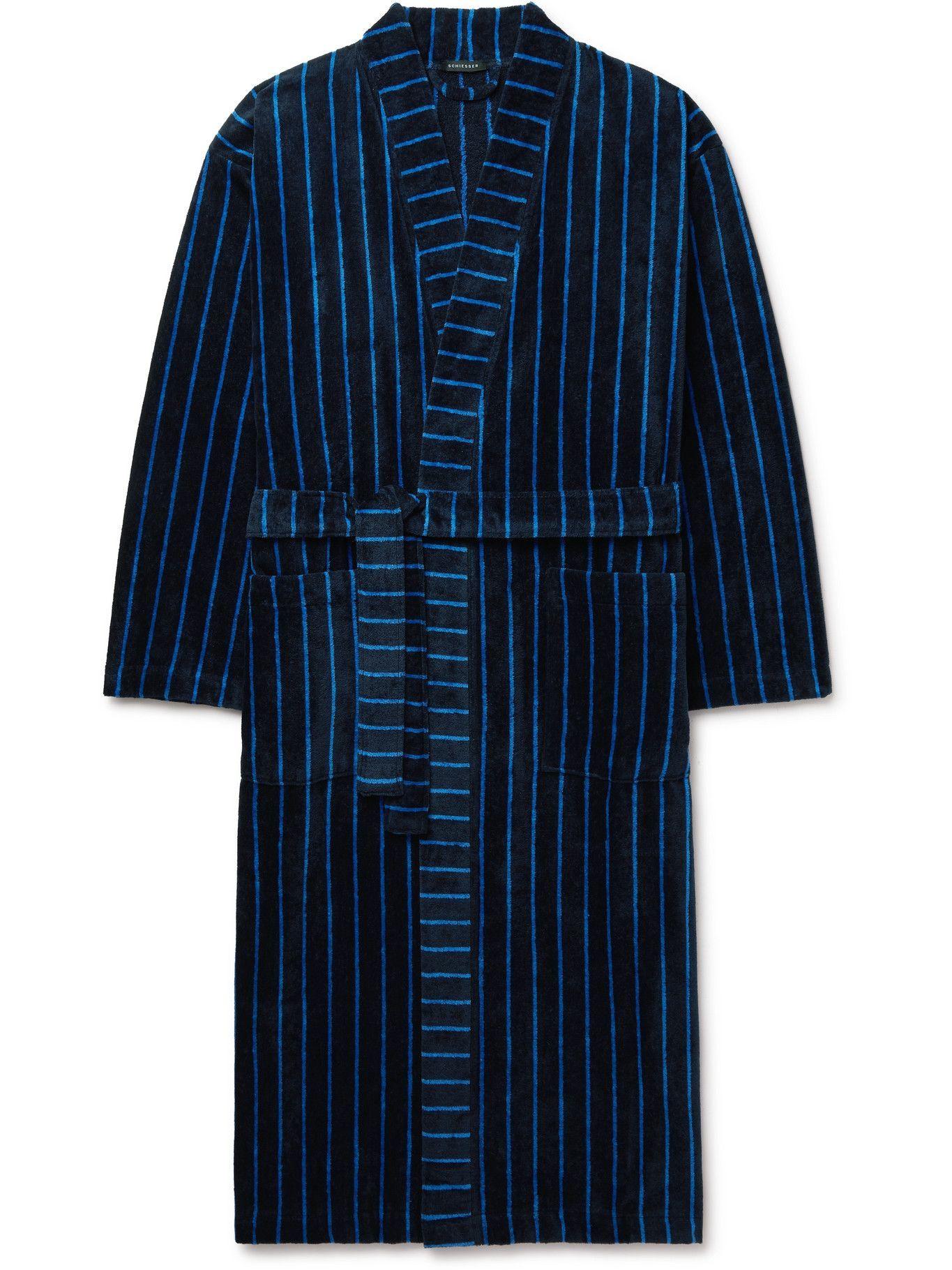 SCHIESSER - Velours Striped Cotton-Terry Robe - Blue