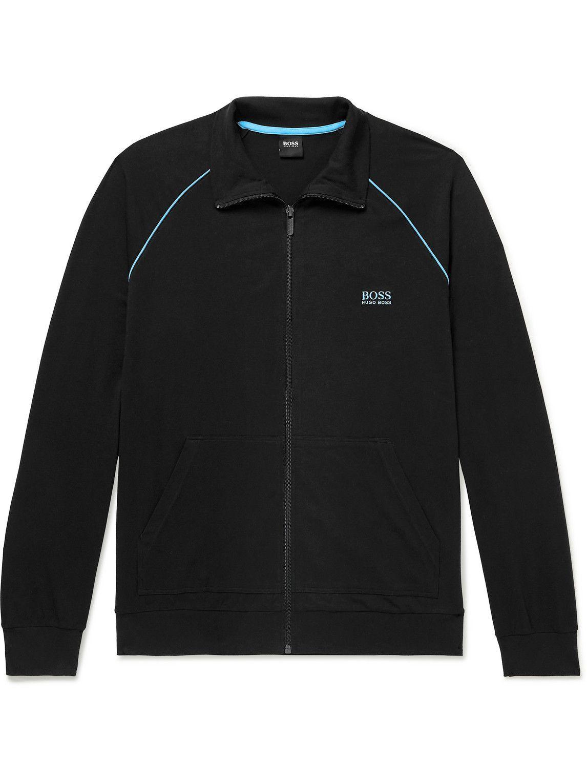Photo: Hugo Boss - Logo-Embroidered Stretch-Cotton Jersey Track Jacket - Black