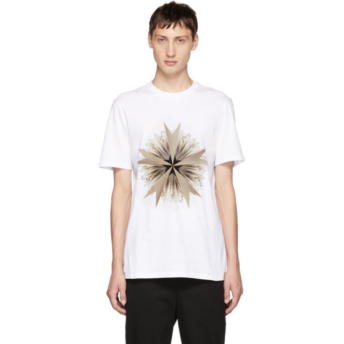 Photo: Neil Barrett White Cross Floral Golden Aura T-Shirt