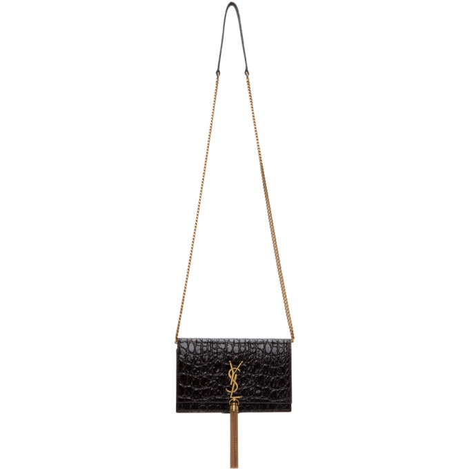 Photo: Saint Laurent Brown Croc Kate Tassel Chain Wallet Bag
