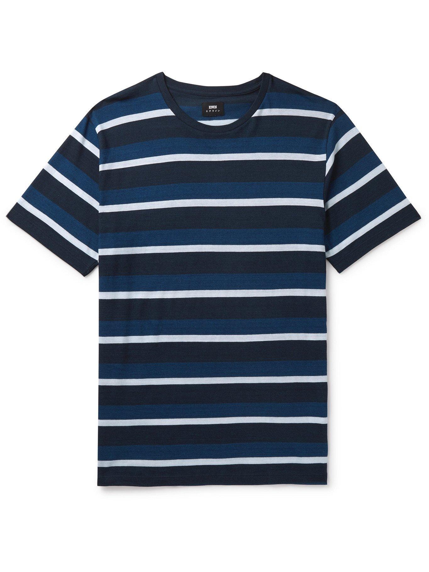 Photo: EDWIN - Cove Garment-Dyed Striped Cotton T-Shirt - Blue