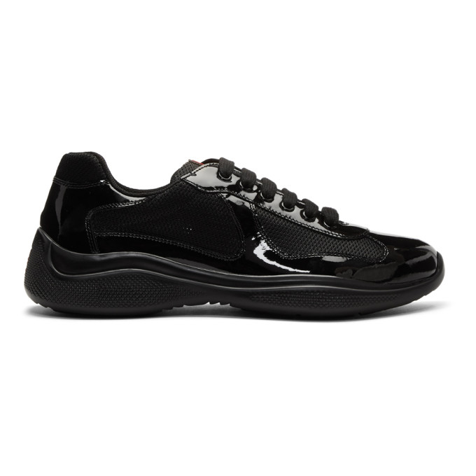 Photo: Prada Black Patent Leather and Mesh Sneakers