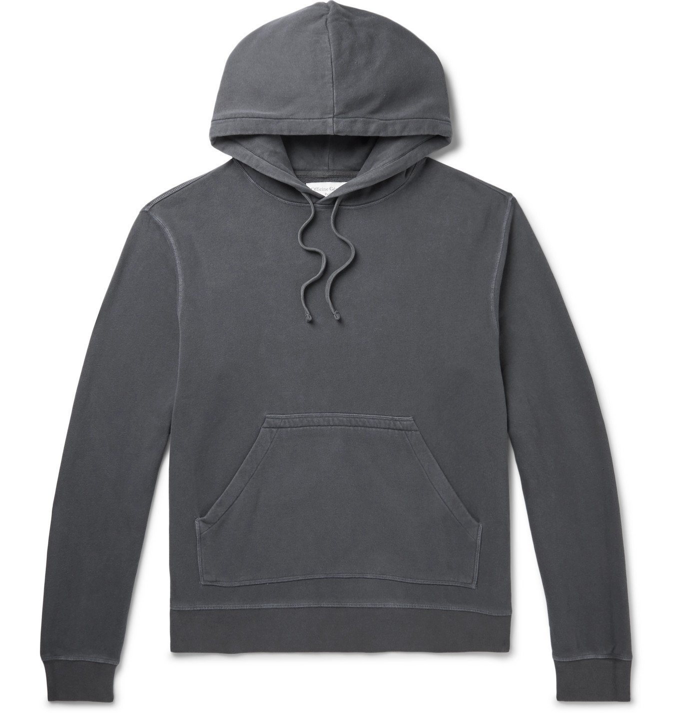 Photo: Officine Generale - Olivier Garment-Dyed Loopback Cotton-Jersey Hoodie - Gray