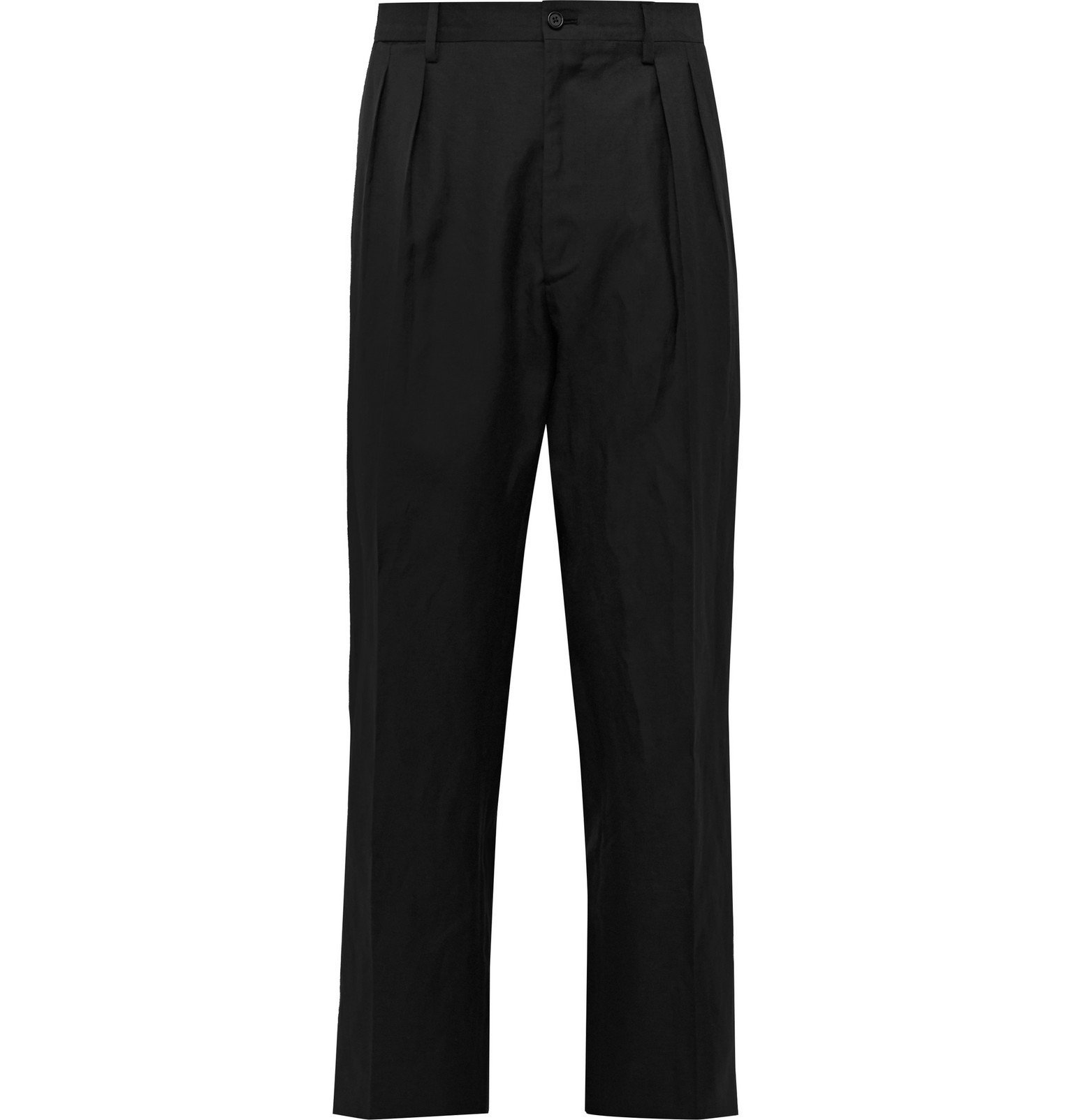 Photo: De Petrillo - Wide-Leg Pleated Wool and Linen-Blend Suit Trousers - Black