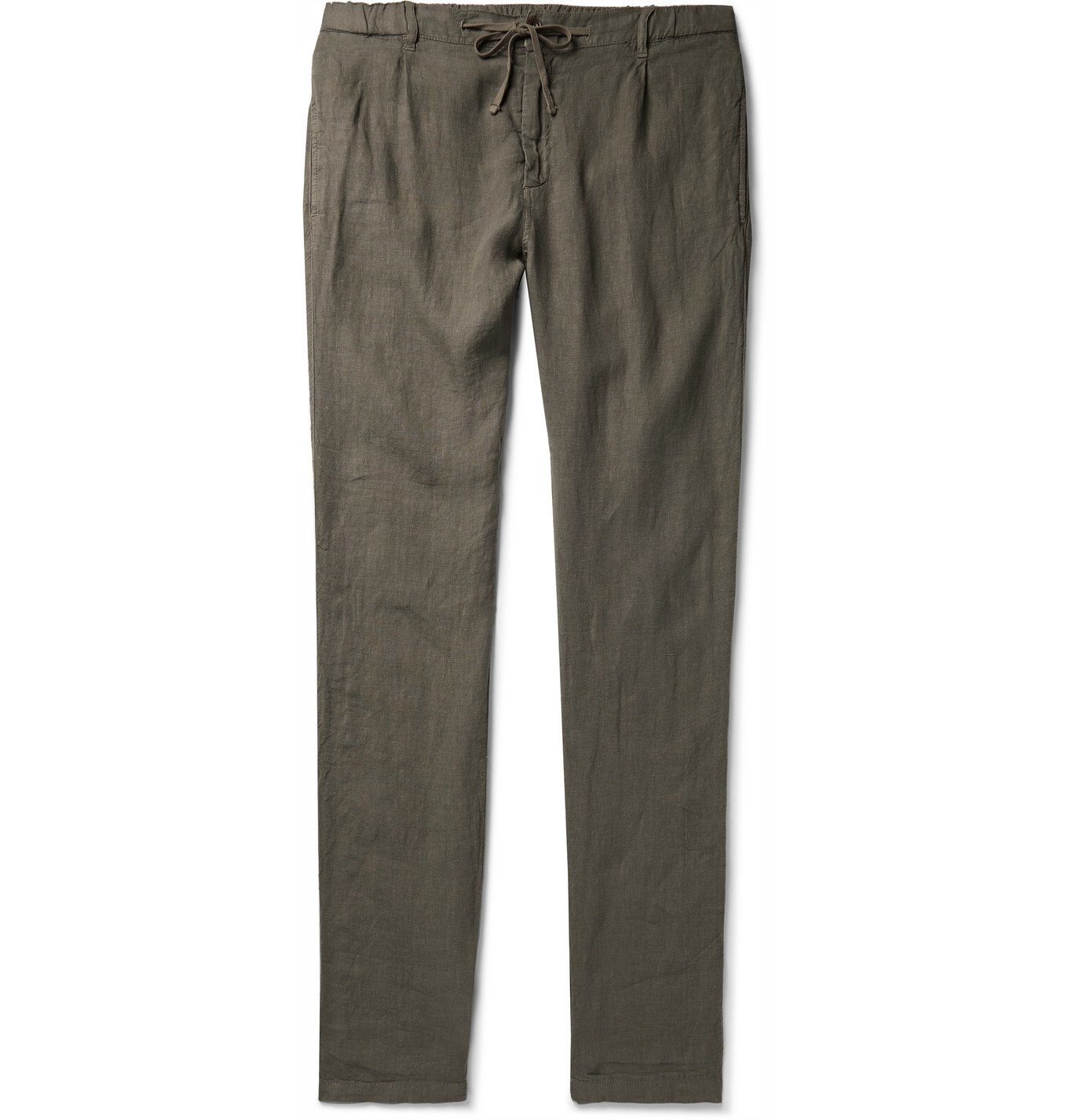 Photo: Hartford - Tanker Slim-Fit Tapered Pleated Linen Drawstring Trousers - Green