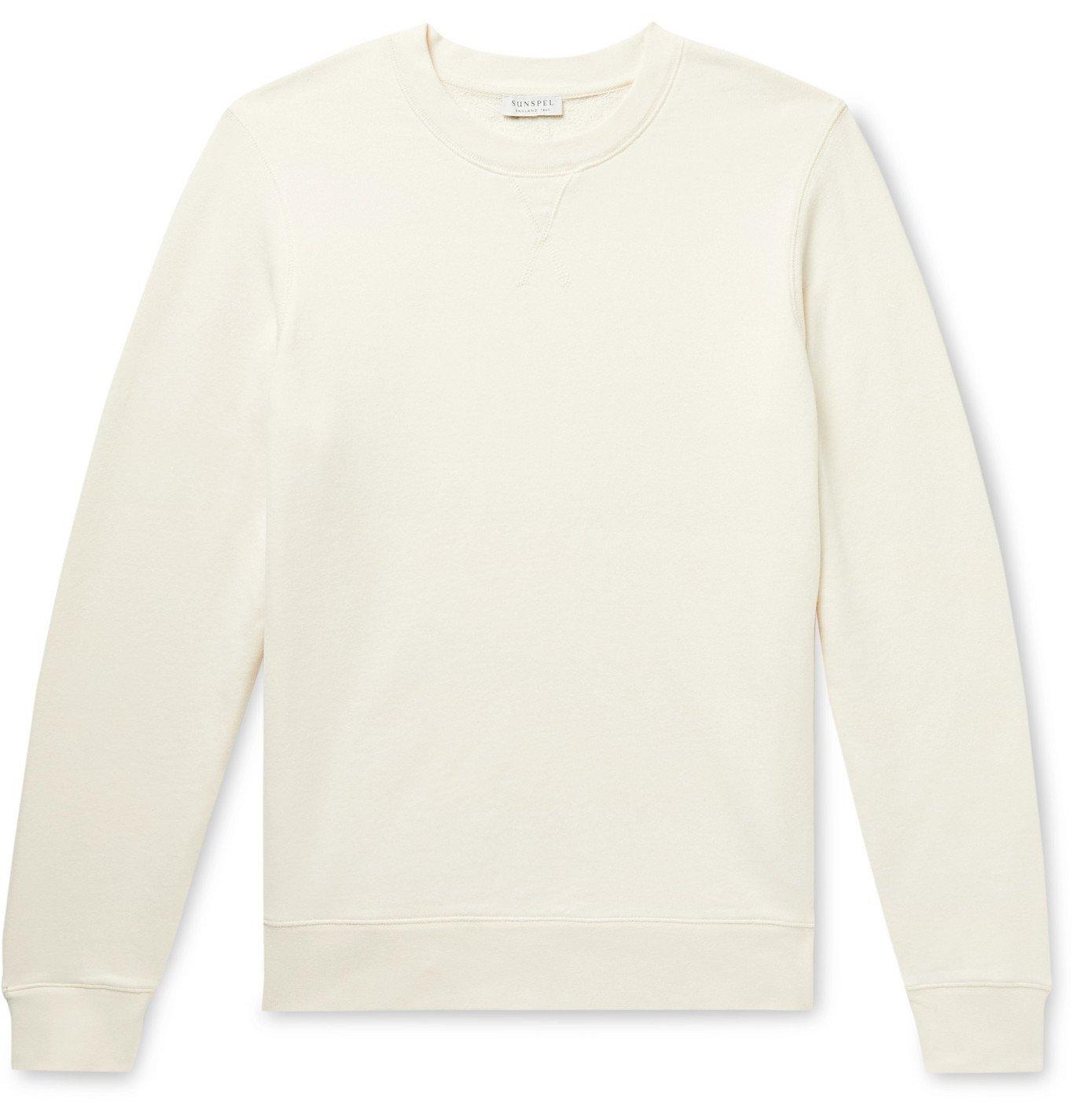 Photo: Sunspel - Brushed Loopback Cotton-Jersey Sweatshirt - Neutrals