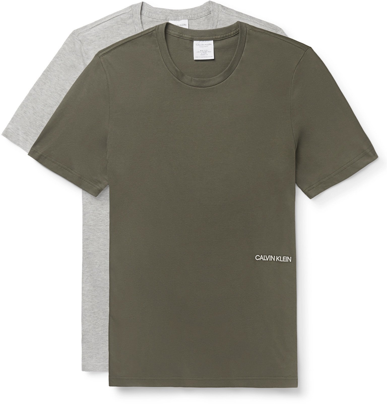 Photo: Calvin Klein Underwear - Two-Pack Logo-Embroidered Cotton-Jersey T-Shirts - Multi