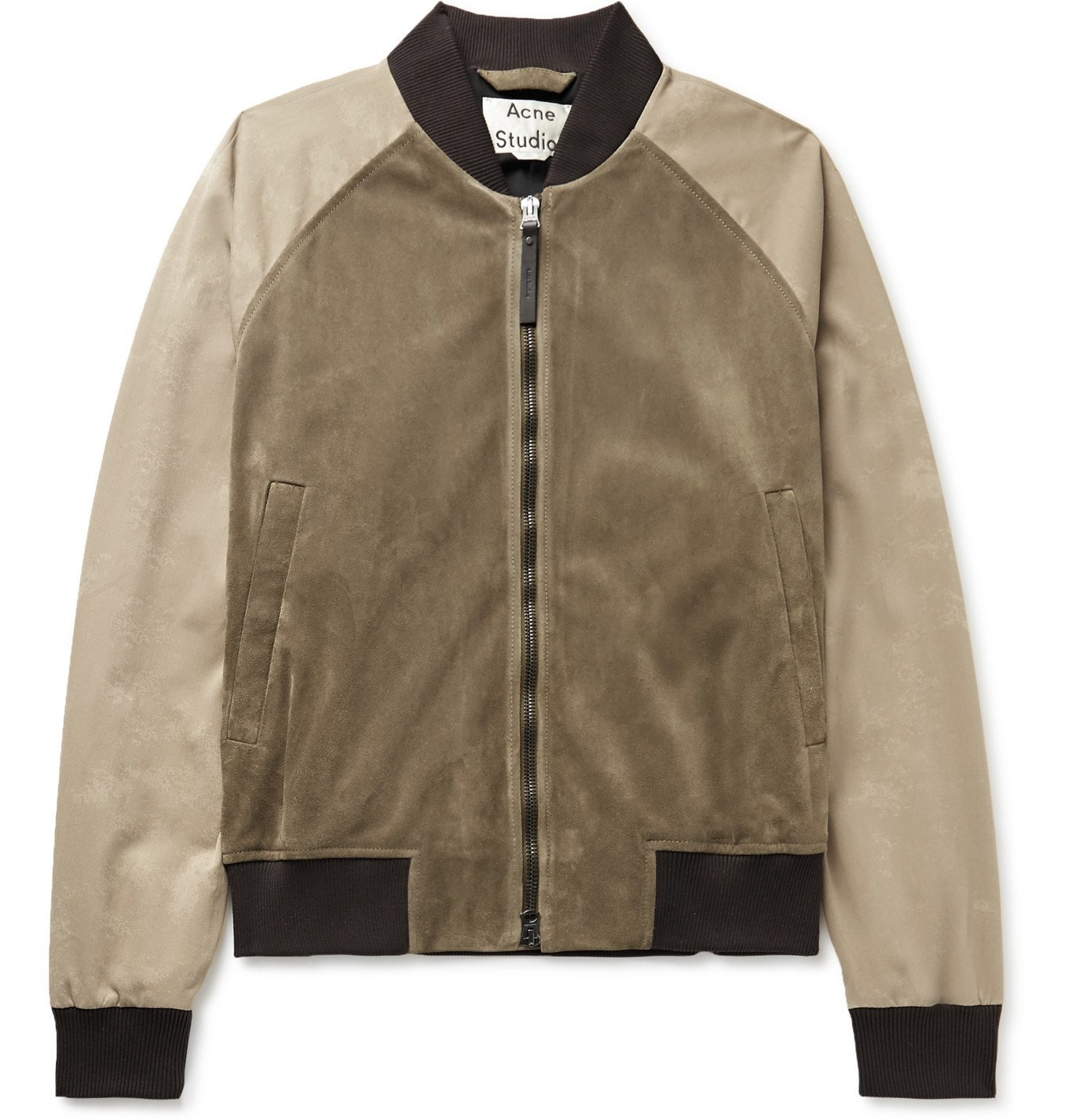 Photo: Acne Studios - Suede and Cotton-Twill Bomber Jacket - Green