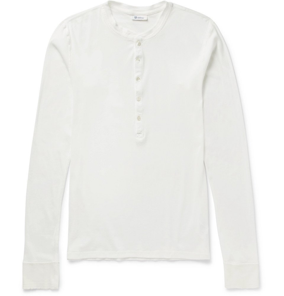 Schiesser - Slim-Fit Ribbed Cotton-Jersey Henley T-Shirt - Men - White