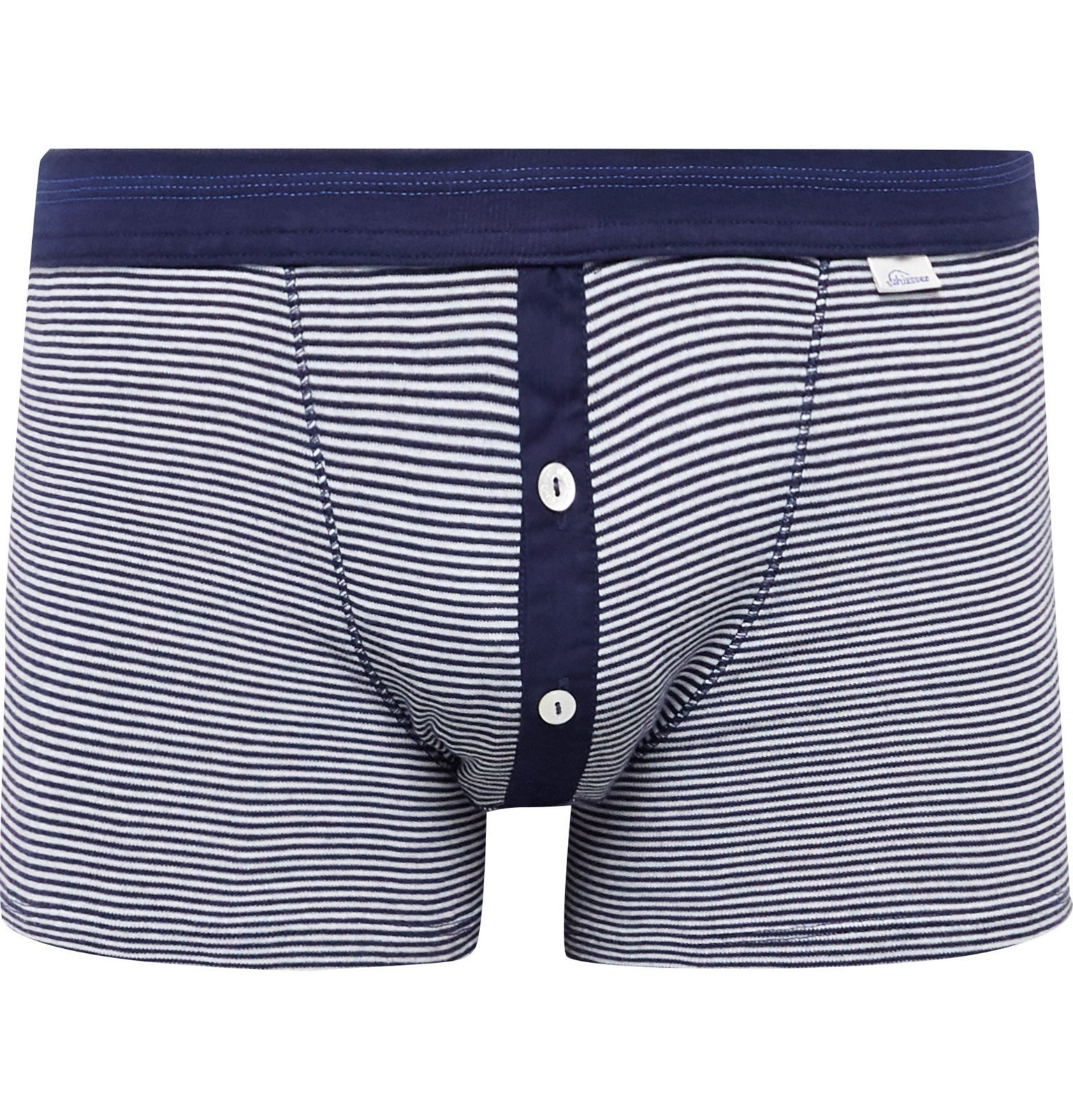 Photo: Schiesser - Karl Heinz Striped Cotton-Jersey Boxer Briefs - Blue