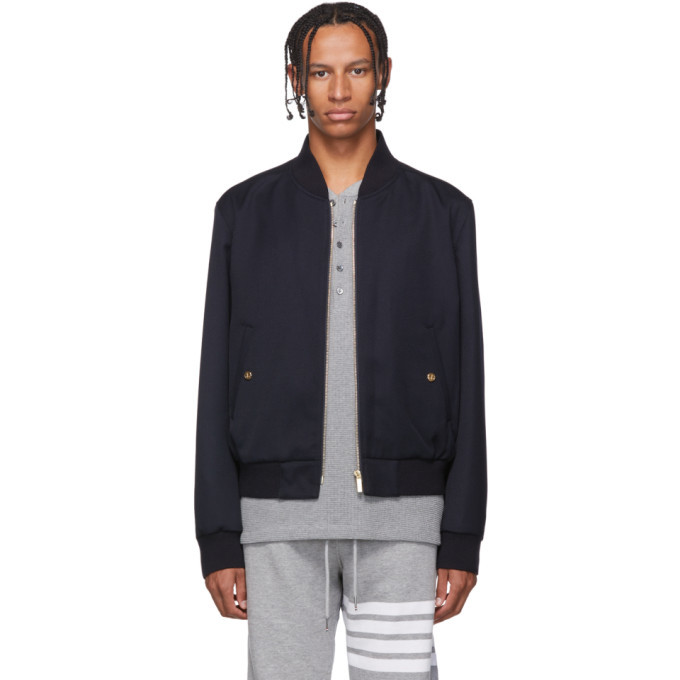 Photo: Thom Browne Navy RWB Stripe Blouson Bomber Jacket