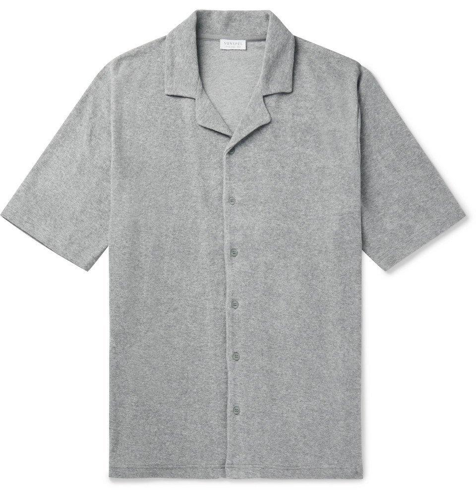 Sunspel - Camp-Collar Mélange Cotton-Terry Shirt - Gray