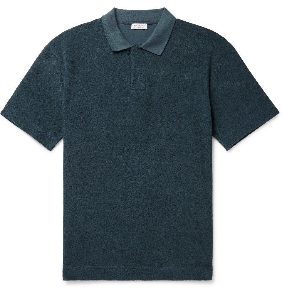 Sunspel - Organic Cotton-Terry Polo Shirt - Petrol