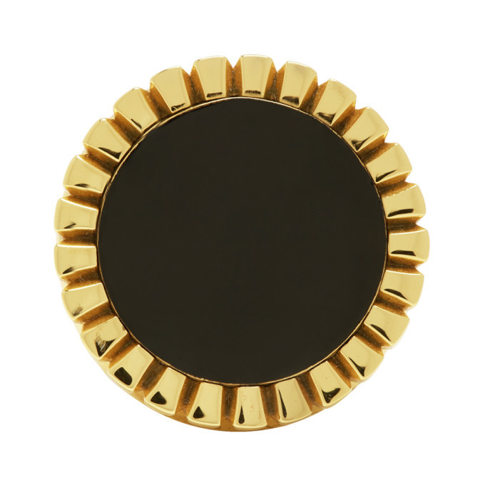 Photo: Bottega Veneta Gold and Black Signet Ring