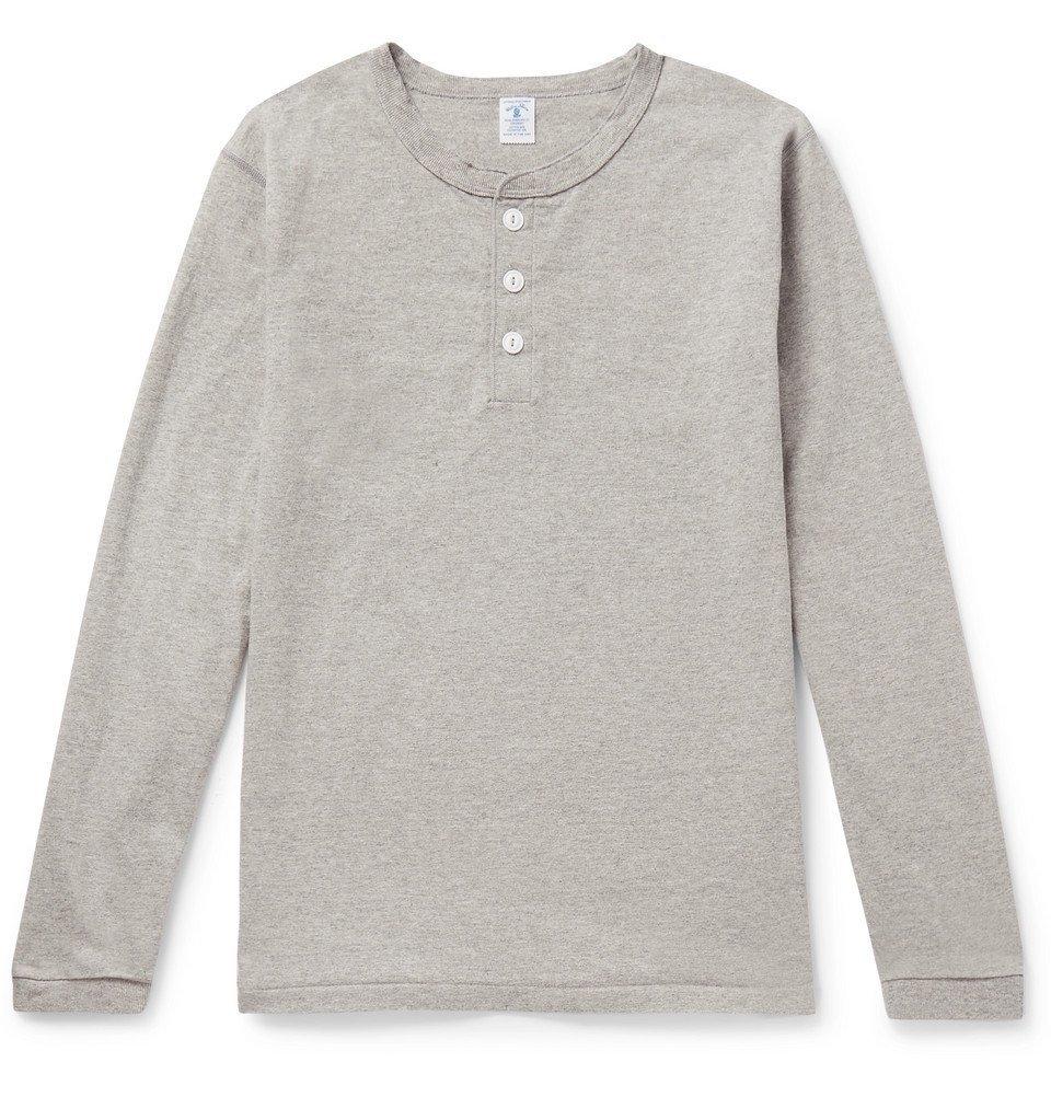 Photo: Velva Sheen - Slim-Fit Mélange Cotton-Blend Henley T-Shirt - Gray