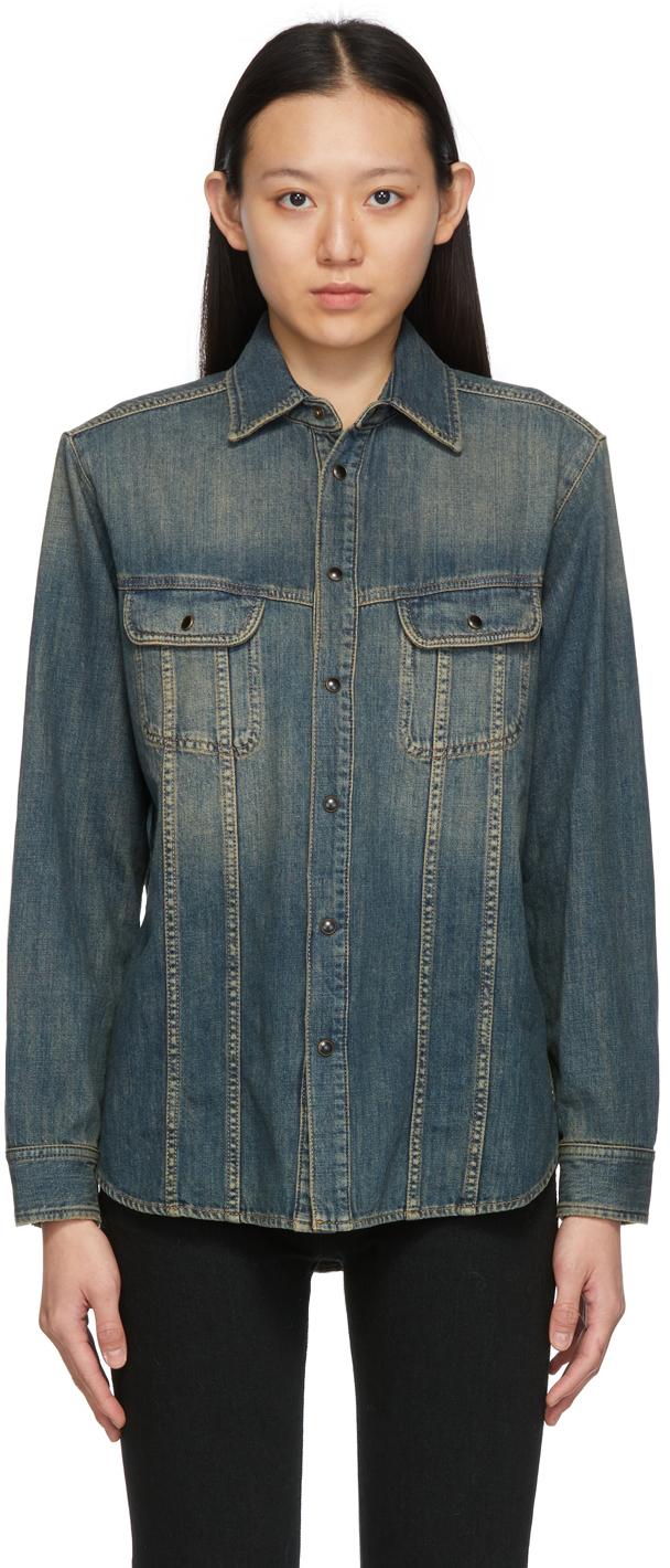 Photo: Saint Laurent Blue Denim Faded Shirt