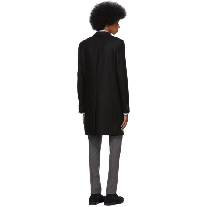 PS by Paul Smith Black Wool Single-Breasted Overcoat