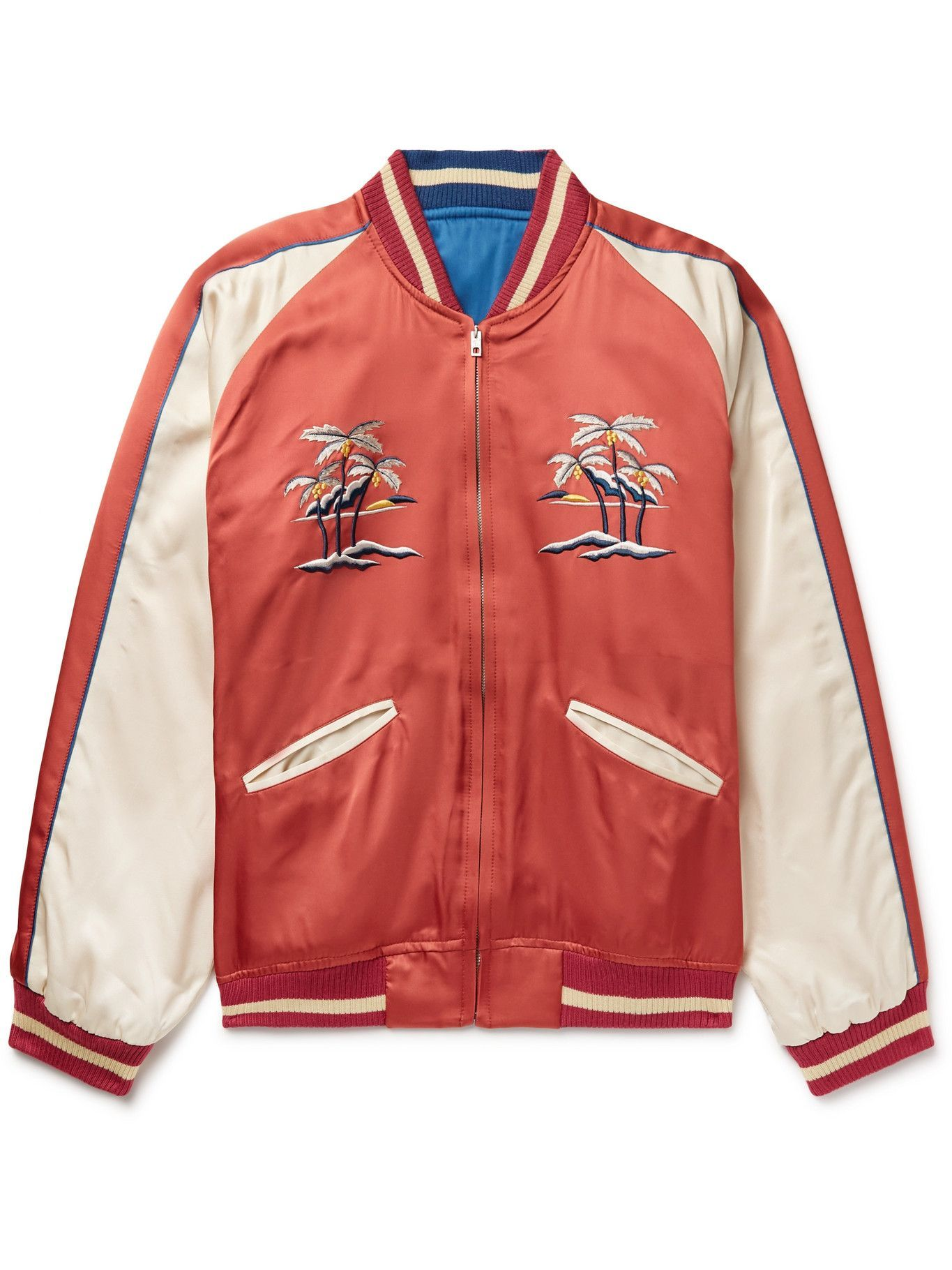 Photo: THE REAL MCCOY'S - Suka Embroidered Colour-Block Satin Bomber Jacket - Red